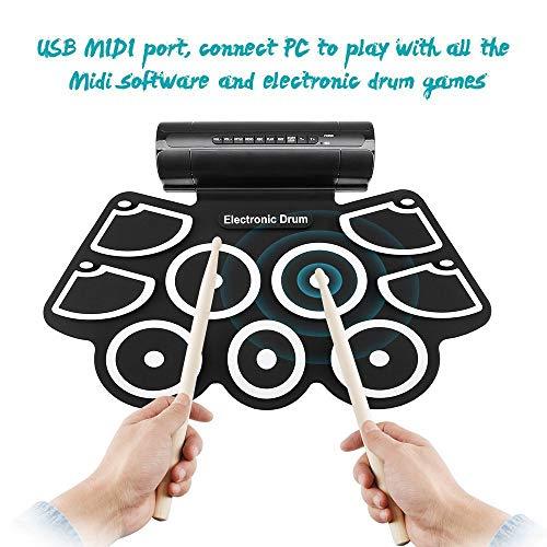 USB-E-Drum, tragbares digitales E-Drum-Kit zum Aufrollen, 9 Übungspads, eingebaute Lautsprecher, Drumsticks und Pedale für Kinder, Anfänger und Erwachsene. Kreative Geschenkideen zum Geburtstag