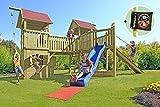 Gartenpirat Spielanlage Piratenrepublik Spielturm mit Piratenschiff und Rutsche