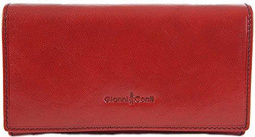 Gianni Conti Fine In Pelle Italiana Grande 16 Carta Portafoglio In 3 Varianti Di Colore - 908021 - Rosso, L Rosso