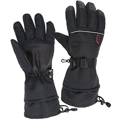 Alpidex guanti da sci hot woolf con isolamento in thinsulate guanti invernali termici unisex resistenti ad acqua, vento e traspiranti,taglia:l, colore:black