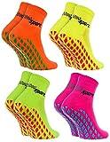Rainbow Socks - Damen Herren Neon Sneaker Sport Stoppersocken - 4 Paar - Orange Grün Gelb Rosa - Größen: EU 44-46