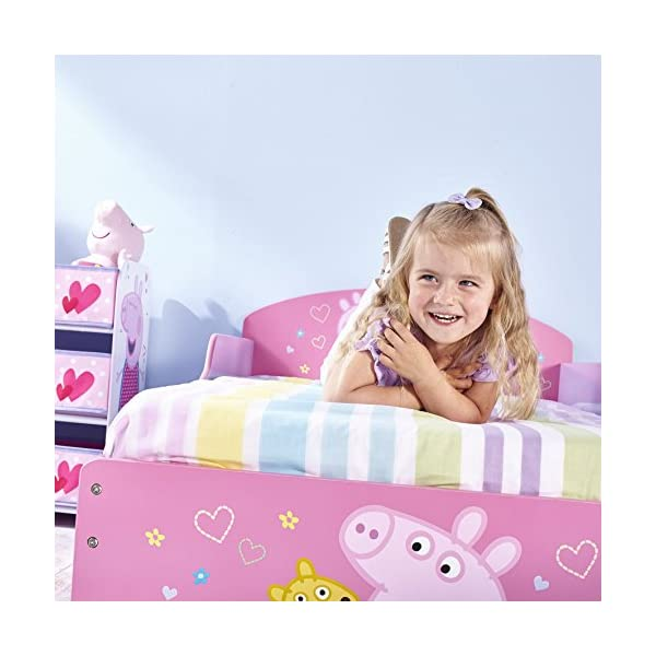 Peppa Pig Kids Toddler Bed by HelloHome Peppa Pig. Snuggle in after a day of play in this Peppa Pig Toddler Bed Perfect size for toddlers, low to the ground with protective and sturdy side guards to keep your little one safe and snug Fits a standard cot bed mattress size 140cm x 70cm, mattress not included. Part of the Peppa Pig bedroom furniture range from HelloHome 25