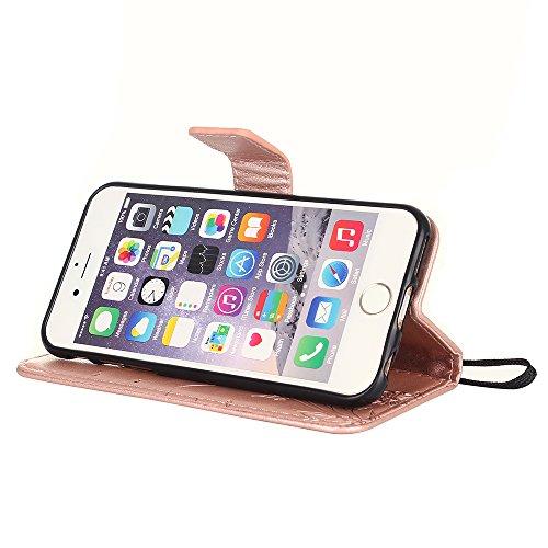 Custodia iPhone 6S, iPhone 6 Cover, ikasus® iPhone 6/iPhone 6S Custodia Cover [PU Leather] [Shock-Absorption] Goffratura Fiore Farfalla e Datazione Ant Protettiva Portafoglio Cover Custodia colore pur Oro rosa
