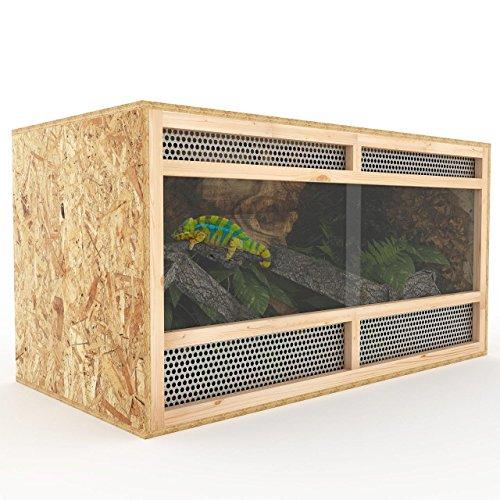 Terrarium aus Holz 100 cm breit aus OSB Platten Holzterrarium mit Seitenbelüftung