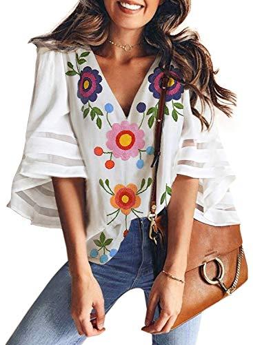 Dokotoo Damen Tunika Langarmshirt, Geblümt Small Gr. (42 EU) Large, B-Blanc