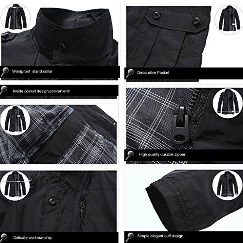 Highdas arriv¨¦e de nouveaux D¨¦tente Fashion v¨ºtements en coton Hommes Manteau ?paissir Garder au chaud Casual ext¨¦rieur Manteaux Noir-1045(Mince)