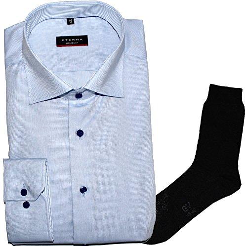 ETERNA Herrenhemd Modern Fit, hellblau, Struktur + 1 Paar hochwertige Socken, Bundle Hellblau