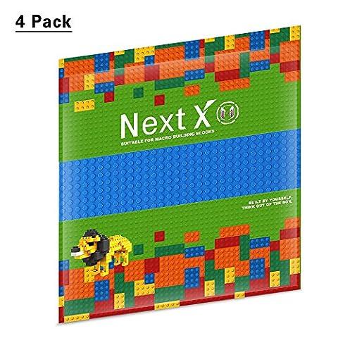 NextX 4 Stück Grundplatten Große Bauplatte Kompatibel mit Gebäude Spielzeug,25cm* 25cm Verdickung Bausteine Platten set 32 * 32Punkte