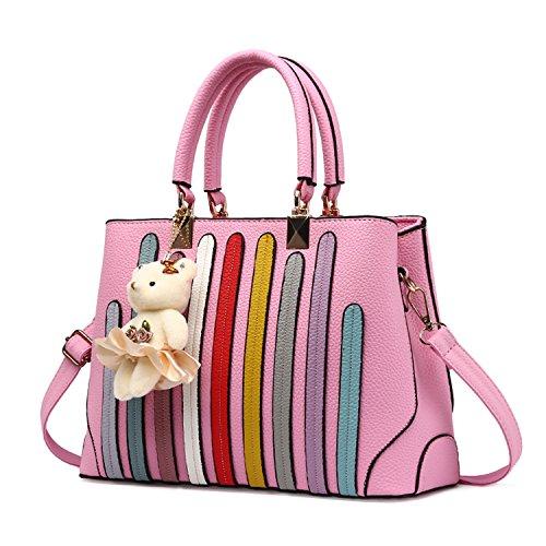 BYD - Pell Donna Handbag Donna Borsa a Spalla Totes Borse a Mano striscia colorata Rosa