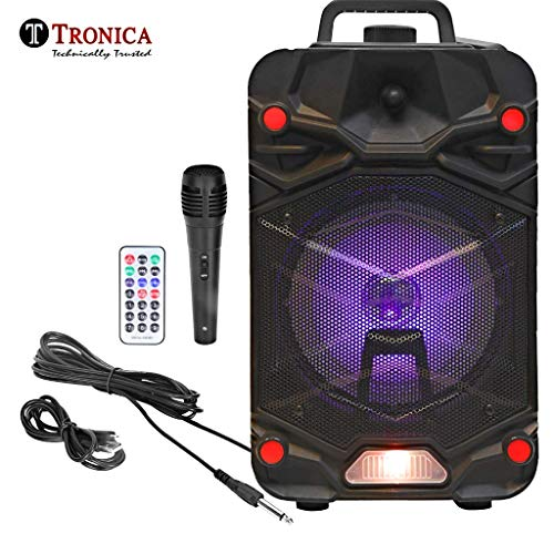 Tronica VIBRA 20W Rechargeable Outdoor Bluetooth Party Speaker with USB/FM/SD Card/Karaoke with Wired Mic & Remote (Jet Black)