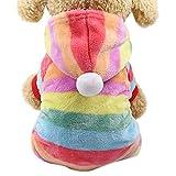 Amphia - Hund Pullover Mantel Weihnachten,Hund Flanellkleidung - Haustier-Kleidung Hundekatze Nettes buntes mit Kapuze Mantel-Kleid(Mehrfarbig,S)