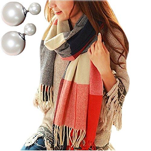Mocasor Plaid Blanket Scarves for Women, Ladies Fashion Winter Warm Tartan Oversized Long Checked Shawls and Wraps 200x60cm (Incl. Pearl Earrings)