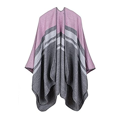 Peacoco Women Ladies Girls Stylish Plaid Checked Knitted Winter Thick Warm Tartan Cape Reversible Poncho Shawl Cape Pink Striped