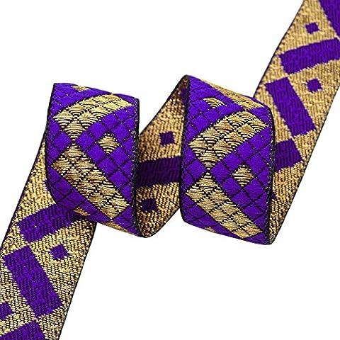 Blau Jacquard Ordnungs-Fertigkeit Versorgung 2,5 cm Breite Woven Trim Sari Ribbon von 1 Yard