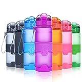 Grsta Botella de agua deportiva- 500ml/17oz - sin BPA & a prueba de fugas, reutilizable de plastico tritan, agua botellas ideal con filtro para niños para niños, correr, gimnasio, yoga, aire libre y camping, 1-click apertura(Púrpura)