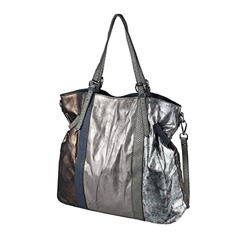 OBC Only-Beautiful-Couture, Borsa tote donna argento bronzo XL-XXL Silber Dunkelblau/Navy