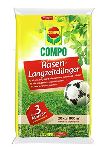 Compo Rasendünger mit Langzeitwirkung, Rasenpflege mit bis zu drei Monaten Langzeitwirkung für Spiel-, Sport- und Zierrasenflächen, 20 kg...