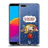 Head Case Designs Zeit Meowy Weihnachten Soft Gel Hülle für Huawei Honor 7C / Enjoy 8