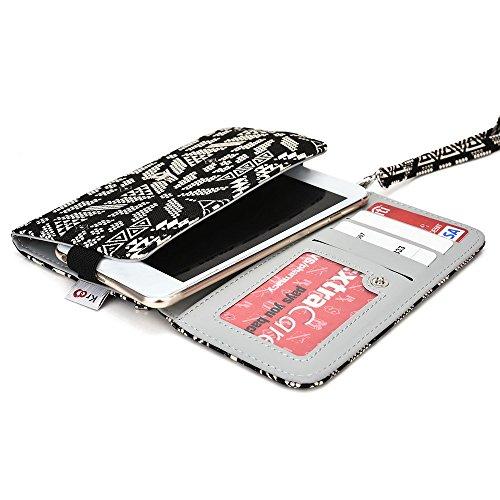 Kroo Téléphone portable Dragonne de transport étui avec porte-cartes compatible avec de nombreux 5à 15,2cm Étui pour Apple iPhone/Asus/Acer/Amazon/Alcatel Multicolore - vert Multicolore - Noir/blanc