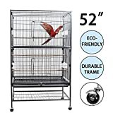 D4P Display4top Grand Fer Noir Forgé Cage Oiseaux pour cacatoès, Perroquet,...