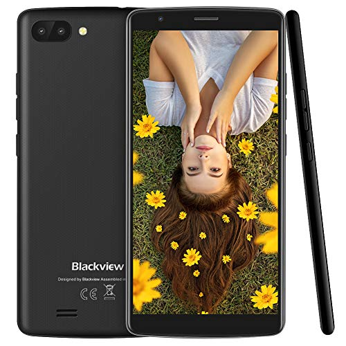 "Blackview A20 Dual-SIM Smartphone (13.96cm 5.5\"" 18:9 Full-Touch-Display), 3000mAh Akku, Android 8.1 (GO Edition) Handy ohne Vertrag Günstiges, 8 GB Telefonspeicher - Schwarz"