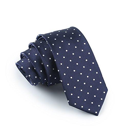 Elviros schmale Herren Satin Krawatte mit feinen Punkten für Business und Alltag 6cm (Pet Protector Schnitt)