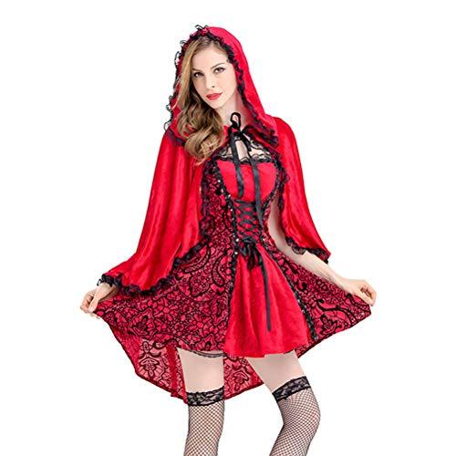 Zhhyltt Karneval Damen Kostüm Halloween Rotkäppchen Kostüm - Kleid und Umhang mit Kapuze Fancy Dress Adult Women's Dress Red Riding Hood Costume Ladies