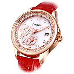 Comtex Women's Watches Rose Gold-Tone with Red Leather Strap Analog Quartz Wrist Watches