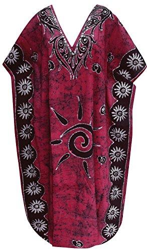 cotone batik maniche abito maxi cappuccio lunga
