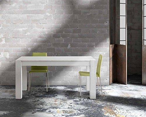 InHouse srls Table en Sapin Blanc brossé comportant 2 rallonges DE 50 cm, Style Moderne - Dim. 180 x 90 x 77