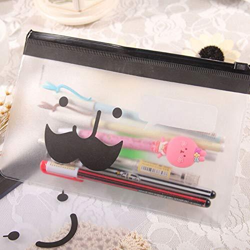 Pencil Bags - 1 Pcs Transparent Waterproof Moustache Smile Office Cosmetic Make Up Pencil Bag Pouch Case School - Boys Black Canvas Binder Cactus Anime That College Clear School Aesthetic Bags