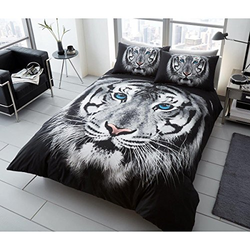 Premium 3d tigre blanco impreso juego de funda nórdica Animal ropa de cama edredón fundas de almohada, tamaño doble