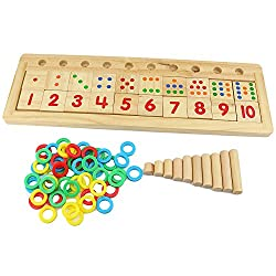 Abaj Colourful Montessori Teaching Tool Math Number Wood Board Preschool Toy Kids Wooden Educational Toy