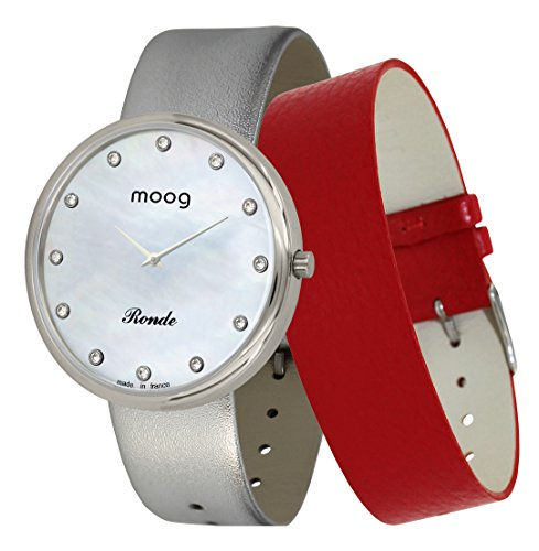 Moog Paris Ronde Vogue Women's Watch with White Mother of Pearl Dial, Silver Genuine Leather Strap & Swarovski Elements - M41672-A11