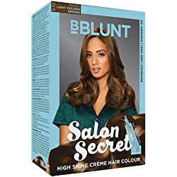 BBLUNT Salon Secret High Shine Creme Hair Colour, Light Golden Brown 5.32, 100g with Shine Tonic, 8ml