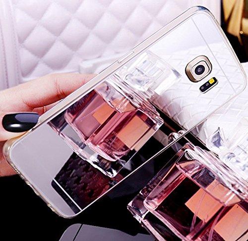 Custodia Cover per Samsung Galaxy S7 edge Samsung G935, Ukayfe Cover Specchio Lusso Placcatura Lucido di Cristallo di Scintillio Strass Diamante Glitter Caso per iPhone 7 Plus[Crystal TPU] [Shock-Abso Argento 2#