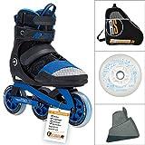 K2 Trio 100 Black Blue - RS-Edition inklusive Leuchtrolle, extra Stopper, Skatetasche und Inspektion