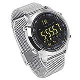 ZRSJ Smart Watch EX18 Schrittzähler Wasserdichte Bluetooth Smartwatch Anruf SMS Erinnerung Armbanduhr Aktivität Tracker Sportuhr Kompatibel mit Android iOS System (Silber)