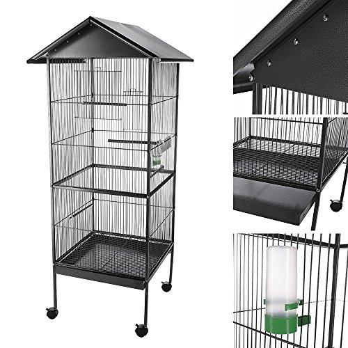 Melko® Vogel Voliere Vogelhaus Tierkäfig aus Eisen, Grau, ca. 155 cm x 66 cm x 66 cm (H x B x T; inkl. Dachvorsprung)