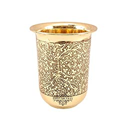 IndianArtVilla Brass Embossed Curved Glass Tumbler |280 ML| For Serving Water Home Hotel Restaurant | Gift Item