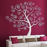 denoda Spiralbaum - Wandtattoo Hellgrau 58 x 50 cm (Wandsticker Wanddekoration Wohndeko Wohnzimmer Kinderzimmer Schlafzimmer Wand Aufkleber)