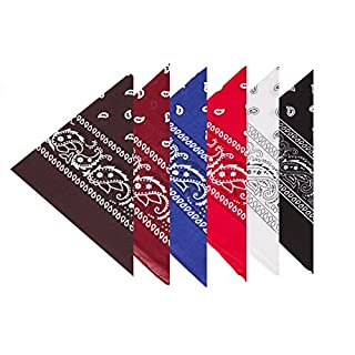 BOOLAVARD 100% Cotton, 1, 6 or 12 Bandanas with Original Paisley Pattern Choice of Scarf Wrap Headwear/Wrap Hair Head Neck Ribbon Head (6 Mixed Order 3)