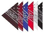 BOOLAVARD 100% Baumwolle, Paisley Bandana Headwear / Haar Schal Ansatz Handgelenk Verpackungs Band Kopf Bindung (Schwarz, Rot, Blau, Weiß, etc.) (6er Gemischt)