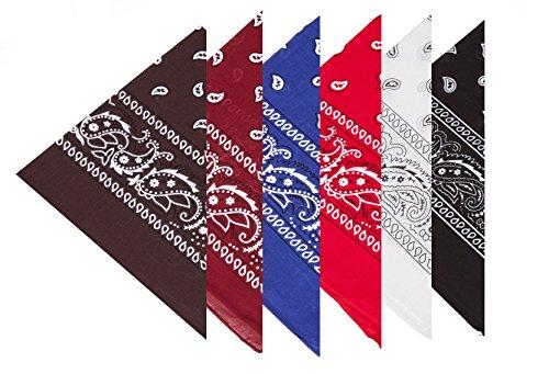BOOLAVARD 100% Baumwolle, Paisley Bandana Headwear / Haar Schal Ansatz Handgelenk Verpackungs Band Kopf Bindung (Schwarz, Rot, Blau, Weiß, etc.) (6er Gemischt) (Bandana)