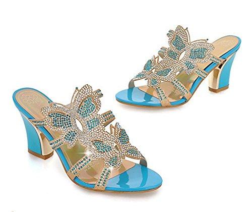 Aisun Femme Brillant à Talon Haut Bloc Strass Sandales Mules Bleu