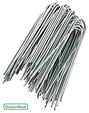 GardenMate 100x 6''/150mm U-shaped Garden Securing Pegs GALVANIZED - Ideal for securing weed fabric, landscape fabric, netting, ground sheets and