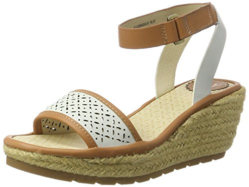 FLY London Ekal969, Sandales Bride Cheville Femme Marron (Tan/Off White 004)