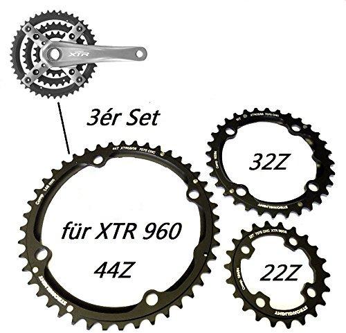 Stronglight Ersatz Kettenblätter für XTR FC-M 960 Shimano Kurbel 3ér Satz 22, 32, 44 Zähne -