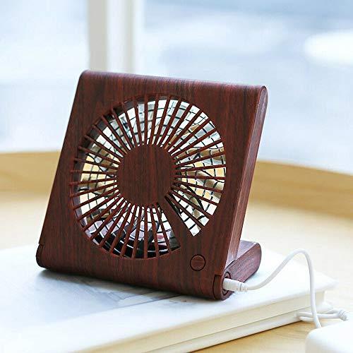Junjie Wood Grain Desktop Fan Portable Mini Silent USB Charging Electric Cooling Fan Holzmaserung Tischventilator Tragbarer Mini Silent USB-Ladelüfter Beige, Braun 520 Usb