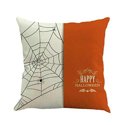 Dekoration Loveso Happy Halloween Weiß und Orange Nähte Farbe Spider Web Pattern Kissenbezüge Home Sofa Decor Kissenbezug 18